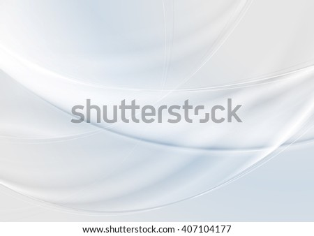 Abstract grey pearl and blue waves background. Vector smooth wavy graphic art design - stock vector