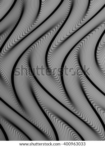 Abstract grey striped background. Rhythmic lines. Abstract 3d effect. Illusion of three dimensional surface. Vector EPS10 with transparency.  - stock vector