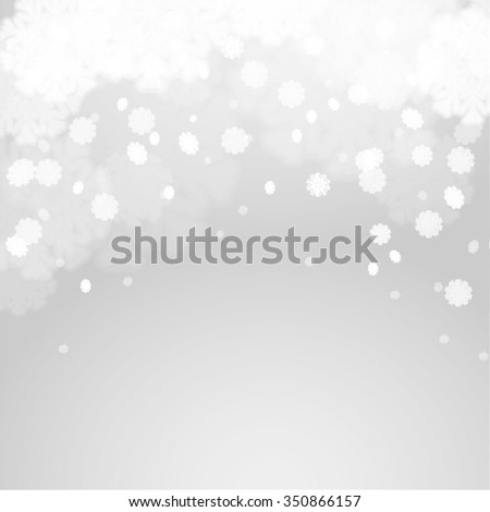 Abstract grey winter background with fir branches and flying snowflakes. Stock vector. - stock vector