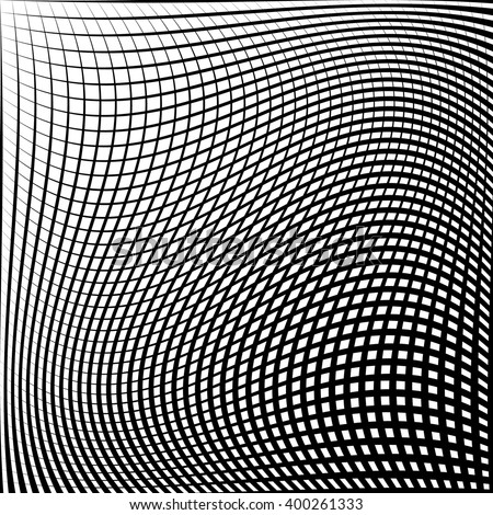 Abstract grid, mesh pattern with distortion effect. Abstract monochrome pattern, artistic geometric graphic. - stock vector
