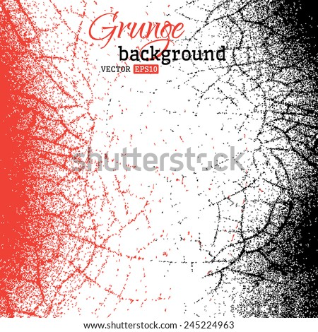 Abstract grunge background. Red and black vector backdrop for your design. There is place for your text. - stock vector