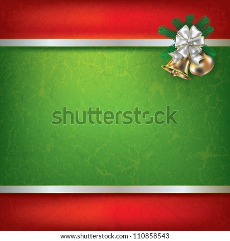 Abstract grunge background with Christmas bells and white ribbon - stock vector