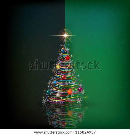 Abstract grunge background with Christmas tree and decoration - stock vector
