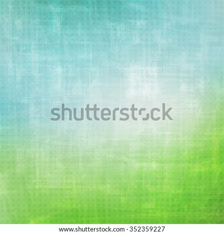 abstract, grunge background with colorful paper texture. vector wallpaper design. artistic green field and blue sky - stock vector