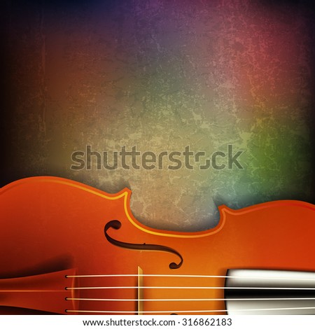 abstract grunge background with violin - stock vector