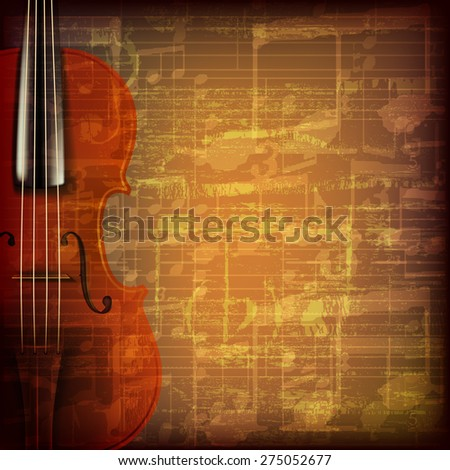 abstract grunge brown cracked music symbols vintage background with violin - stock vector