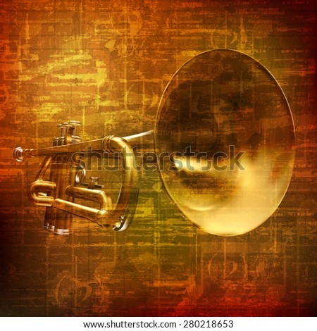 abstract grunge brown vintage sound background with trumpet - stock vector