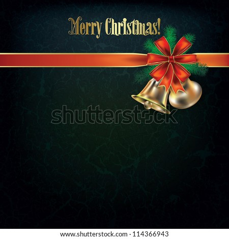 Abstract grunge Christmas greeting with bells and red ribbon - stock vector