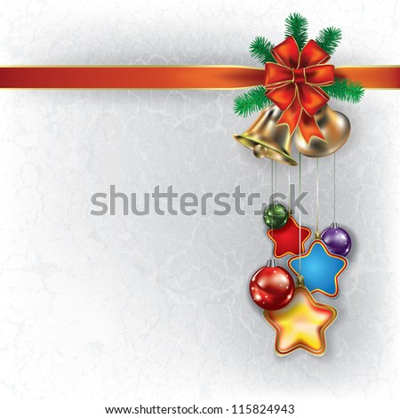 Abstract grunge Christmas white background with hand bells and decorations - stock vector