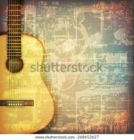 abstract grunge cracked music symbols vintage background with acoustic guitar - stock vector
