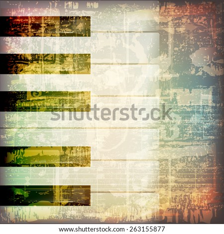 abstract grunge cracked music symbols vintage background with piano keys - stock vector