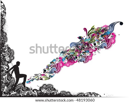abstract grunge floral boader with fantasy vector illustration - stock vector