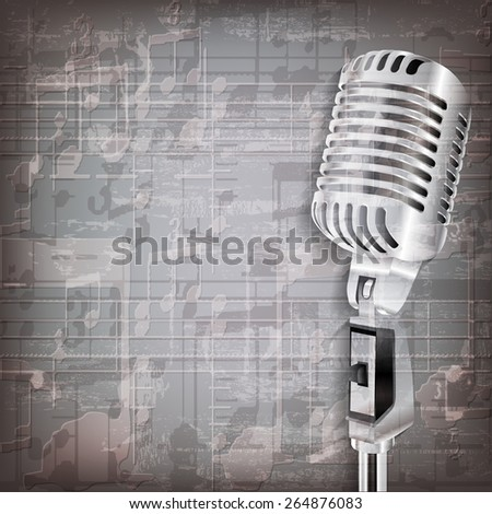 abstract grunge gray music background with retro microphone - stock vector