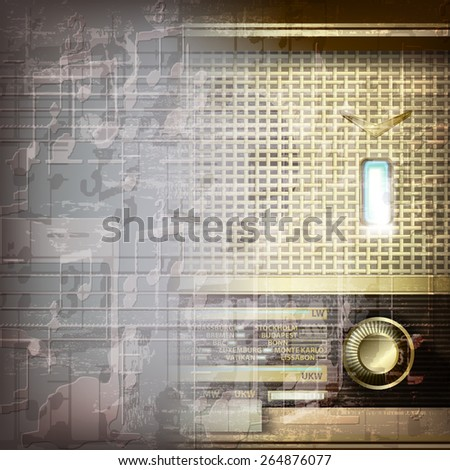 abstract grunge gray music background with retro radio - stock vector