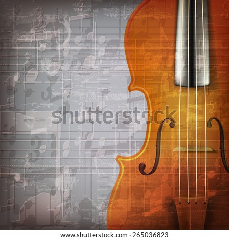 abstract grunge gray music background with violin - stock vector
