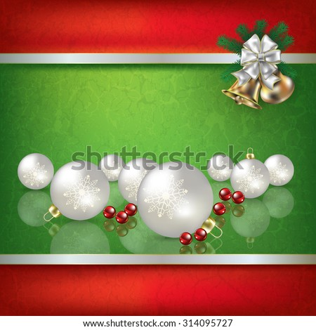 Abstract grunge green background with white Christmas decorations and hand bells - stock vector