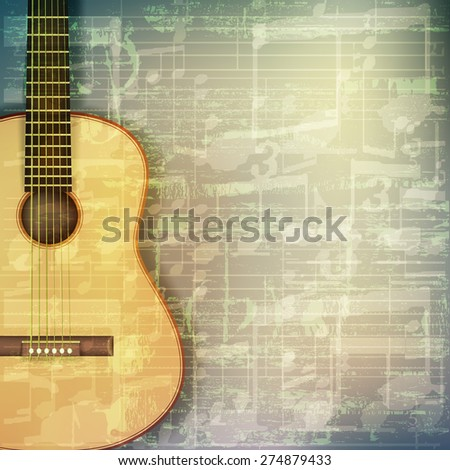 abstract grunge green cracked music symbols vintage background with acoustic guitar - stock vector