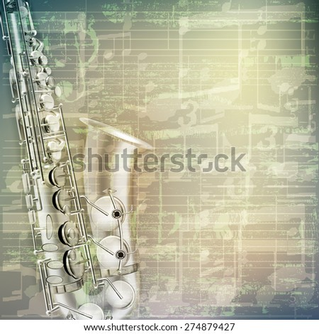 abstract grunge green cracked music symbols vintage background with saxophone - stock vector