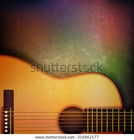 abstract grunge music background with acoustic guitar on brown vector illustration - stock vector