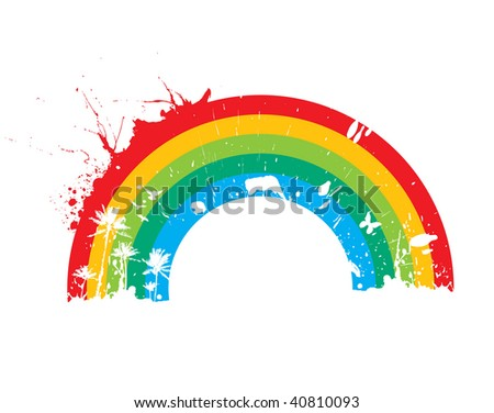 abstract grunge rainbow background with space of your text, vector illustration - stock vector