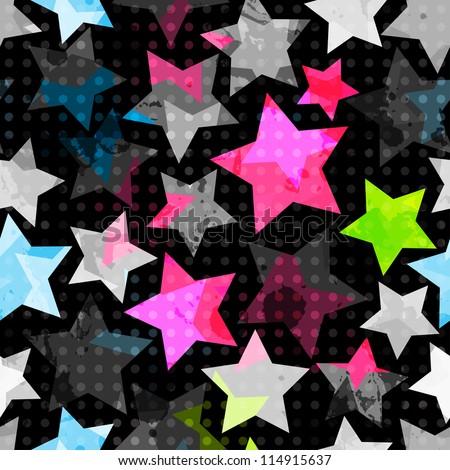 abstract grunge stars seamless - stock vector