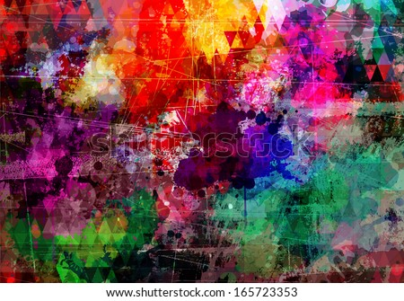 Abstract grunge style watercolor background with distressed effect - stock vector