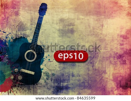 Abstract grunge texture with music guitar - stock vector
