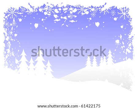 Abstract grunge winter vector background scene with  snowy christmas trees on a hilly landscape. - stock vector