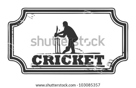 Abstract grungy cricket stamp, vector illustration - stock vector