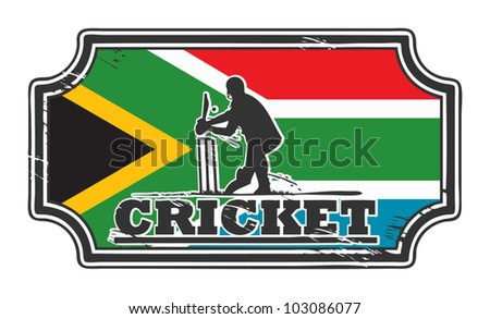 Abstract grungy cricket stamp with South Africa flag, vector illustration - stock vector