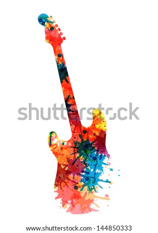 Abstract guitarist color. Eps 10 - stock vector