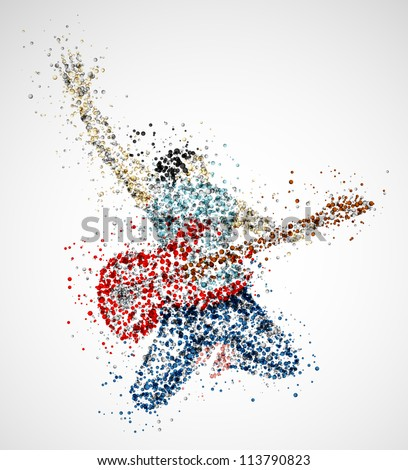 Abstract guitarist from circles. Eps 10 - stock vector