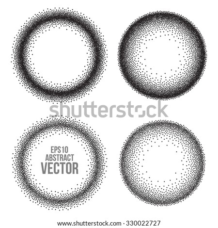 Abstract Halftone Background. Dotwork Circle Banner. Vector Illustration. - stock vector