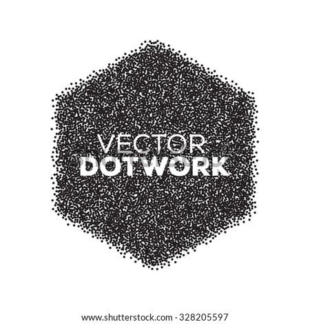 Abstract Halftone Background. Dotwork Hexagon. Vintage Engraved Banner. Vector illustration. - stock vector