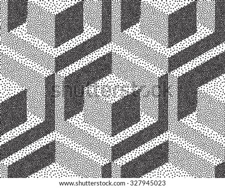 Abstract Halftone Backgrounds. Dotwork Isometric Background. Vector illustration. - stock vector