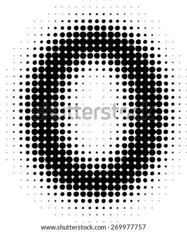 Abstract Halftone Dotted Number. Vector Illustration. Grunge Numeral. Pixel Number. Blurred Number.  - stock vector