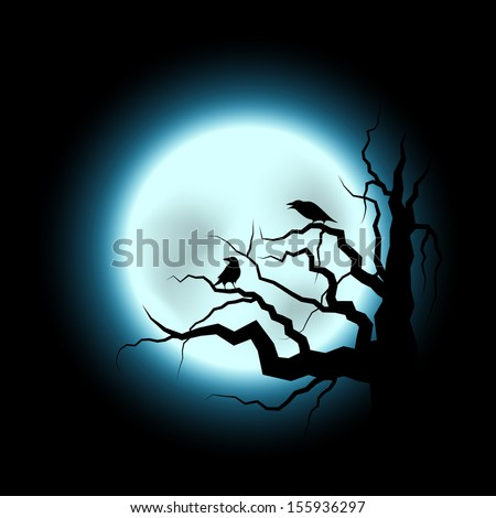 Abstract Halloween Illustration with Raven and Full Moon - stock vector