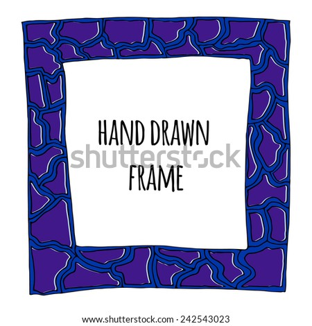 Abstract hand drawn doodle vector frame. Ornate decorative background in blue and purple tones. - stock vector