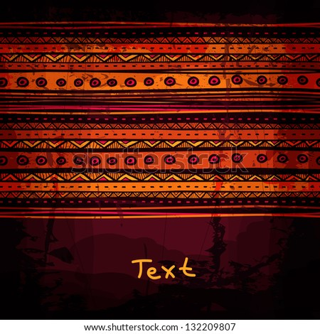 Abstract hand-drawn ethnic design template, tribal background. - stock vector