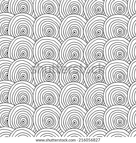 abstract hand drawn ink pen doodle seamless monochromatic pattern background - stock vector