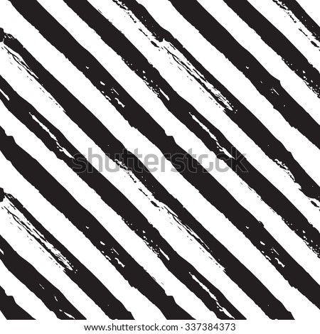 Abstract hand drawn paint diagonal stripes seamless vector pattern white and black - stock vector