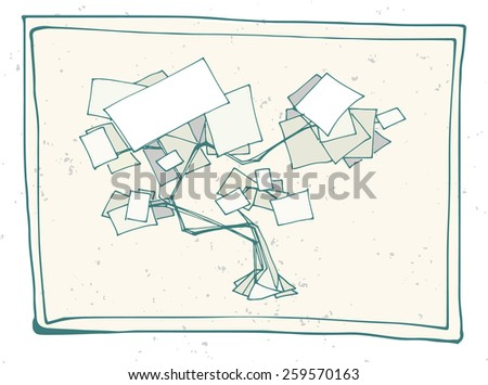 abstract hand drawn vector sign in shape of tree with blank sheets - stock vector