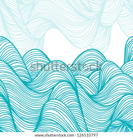 Abstract hand-drawn waves background. - stock vector