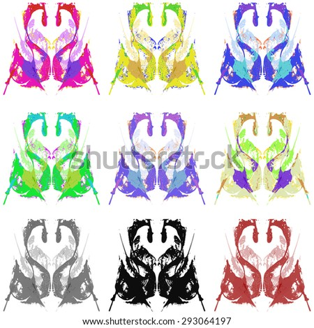Abstract hand painted string-pull watercolor ink rorschach set grunge.  EPS  Vector Background - stock vector