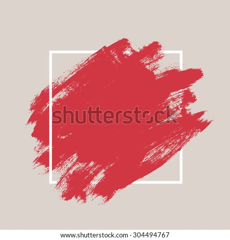 Abstract hand painted textured ink brush background with geometric frame, isolated strokes  with dry rough edges - stock vector
