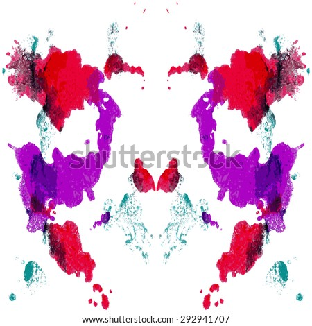 Abstract hand painted watercolor ink rorschach.  EPS 10 Vector Background - stock vector