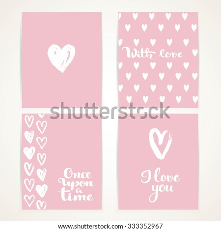 Abstract hand-painted white hearts on pink banner set with I love you and once upon a time calligraphic inscription for invitation or greeting cards - stock vector