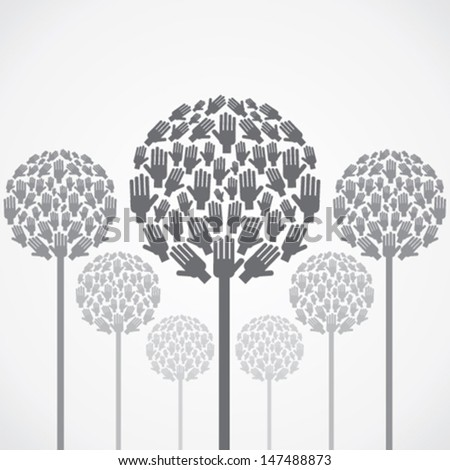 abstract hand tree background vector - stock vector
