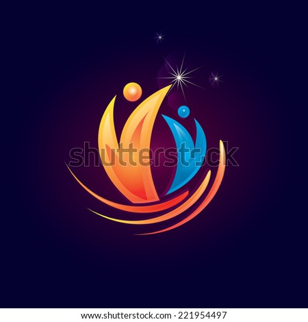 Abstract happy people icon on  background. Vector - stock vector