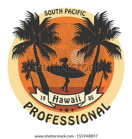 Abstract Hawaii surfer sign, vector illustration - stock vector